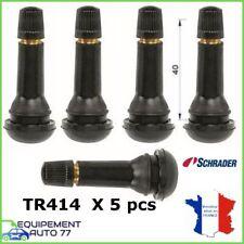 LOT DE 5 VALVES  POUR PNEUS AVEC BOUCHON TR 414  long 40 mm pour JANTE TUBELESS