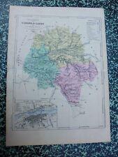 Carte géographique couleur 19°:    L'INDRE et LOIRE avec plan de TOURS