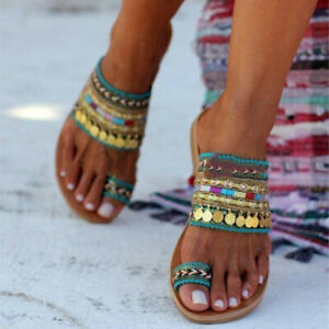 Women Boho Ethnic Flip Flops Sandals Summer Beach Slider Flat Heel Shoes Slipper