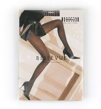 "WOLFORD ""Bellevue"" Brown & Metallic Silver Rib Knit Pantyhose Tights Size S NWT"