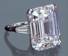 10 Ct Near White Emerald Cut Moissanite Engagement Ring 925 Sterling Silver