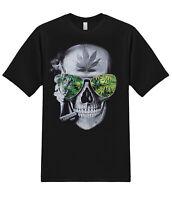 Smoking Joint Skull Marijuana Weed Pot Kush Cannabis 420 Stoner Graphic T-Shirt