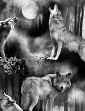 Wolf Wolves Wicked Moon C7886 Black Timeless Treasures durable Cotton fabric