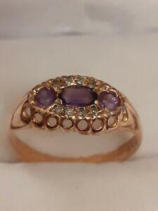 9ct gold amethyst & diamond ring size N full hallmarks.