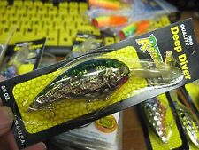 "Renegade HoneyComb 2 3/4"" Deep Diver Fishing Lure 5/8 Oz Green Back Silver Belly"