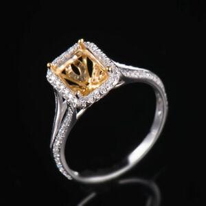 Solid 18K Gold Natural Diamond Semi Mount Wedding Ring Setting Emerald Cut 8×6mm