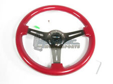 NRG Classic Wood Grain Steering Wheel 350mm Red w/ 3 Spoke Center In Matte Black