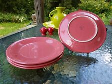 "4 DINNER PLATES set lot flamingo pink HOMER LAUGHLIN FIESTA WARE 10.5"" NEW"