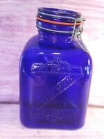 Crownford Cobalt Blue Glass 4 Qt Canister Jar Wire Lid Lock Smith Italy Vintage