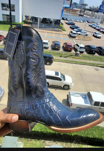 LUCCHESE BOOTS SIZE 12D NAVY BLUE COLLECTIONS GIANT AMERICAN ALLIGATOR