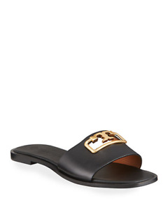 NIB Tory Burch Leather Selby Slide Sandals BLACK GOLD 6 M