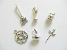 6 Metal Antique Silver Colour Wicca/Pagan/Witch Charms/Pendants