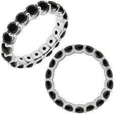 3 Carat Black Diamond Engagement Wedding U Shape Full Eternity Ring White Gold
