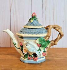 Vintage Fitz and Floyd English Garden Teapot Berry Bird House Retired
