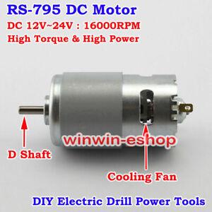 DC 12V 24V 16000RPM RS-795 Motor Dual Ball Bearing Large Torque High Power Motor
