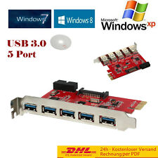 5 Port USB 3.0 PCI Express PCI-E Computer Card PC Karte Controller Hub Adapter