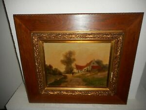 Antique oil painting,{ Landscape with a woman walking, is signed, great frame }.