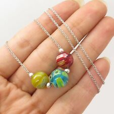 FAS 925 Sterling Silver Murano Glass Beads Pendant Chain Necklace 17""