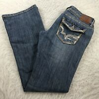 Maurices Boot Cut Jeans Women's Sz 1/2 Stretch Flap Pockets Thick Stitch 30x32