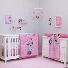 Baby Minnie Mouse Crib Bedding Set 4 Piece Nursery Pink Aqua Bows Infant Girls