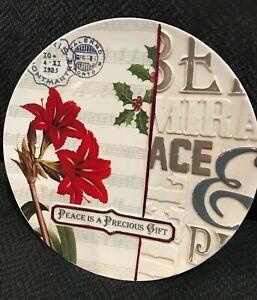 "NIB Grasslands Road.""PEASCE IS A PRECIOUS GIFT""  Plate. Amaryllis & Holly ~ 10"""