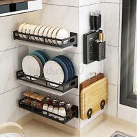 Kitchen Storage Rack Dish Spice Shelf Utensils Holder Wall Mount Hanging Stand