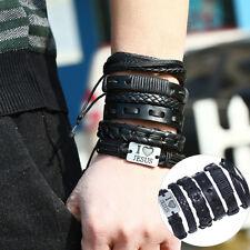 EG_ LK_ 6Pcs/Set Men Vintage Faux Leather Bracelet Braided Cuff Bangle Gift