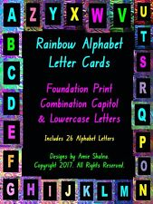 Blackboard Rainbow Alphabet Cards, Laminated Foundation Print, Decorative, Games