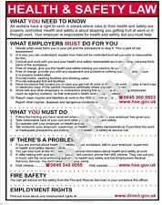 HEALTH SAFETY LAW A5 INDIVIDUAL WORK STATION LAMINATED POSTER 250 MICRON