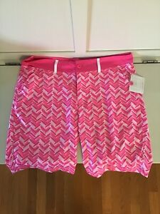 NWT Birdies & Bows Women's Active Sport Golf Shorts Golf Pink Print Size 14
