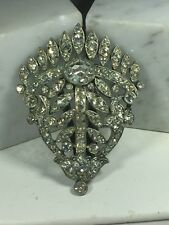 VINTAGE SIGNED STARET ART DECO CRYSTAL RHINESTONE POT METAL DRESS CLIP - RARE!