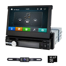 Backup Camera+GPS Single 1Din Car Stereo Radio CD DVD Player Bluetooth With Map*
