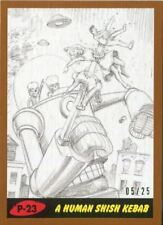 Mars Attacks The Revenge Bronze [25] Pencil Art Base Card P-23 A Human Shish K
