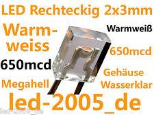 30 x LED Rechteckig 2x3x4mm Warmweiß,650mcd,EAN 7091144533274,