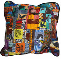 Happy Camper Kantha Throw Pillow Patchwork Colorful Soft Fringe Square Cushion