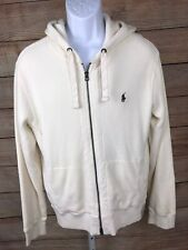 POLO Ralph Lauren Men's Off White Ivory Hooded Thermal Full Zip Jacket Large