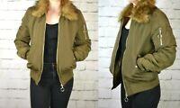 H&M UK 12/14 COAT JACKET NEW LADIES KHAKI BOMBER
