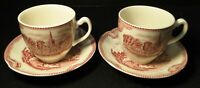 Johnson Brothers Old Britain Castles Tea Cup Saucer Sets Pink England 2 Mint