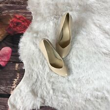 Womens NINE WEST Nude Patent Leather Round Toe Pumps Size 7