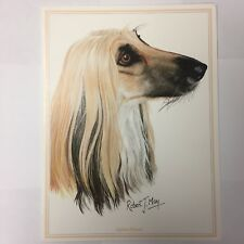 Afghan Hound Greeting Card Robert J May Notecard Frameable Made in Uk