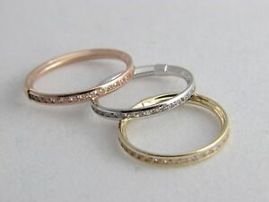 Real 14K GOLD 3mm Eternity Stackable BAND RING yellow, White, Rose Gold 14kt