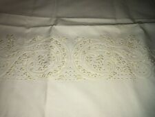 Sferra French Knots & Floral Embroidery Ivory Egyptian Cotton 1 King Pillowcase
