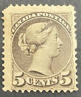 Mint H Canada F+ Scott #42 5c 1888-1897 Small Queen Issue Stamp ST25