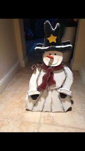 "rustic wooden snowman adorable approx 35.5"" tall  x 7"" deep"