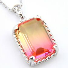 Hanmade Jewelry BI-COLORED Tourmaline Gems Silver Necklace Pendant With Chain