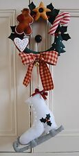 FOLK ART CHRISTMAS SEWING PATTERN 'MERRY CHRISTMAS' ICE SKATES & XMAS WREATH