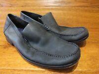 Ted Baker  UK 11 EU 45 Dark Grey Nubuk Leather Slip On Shoes