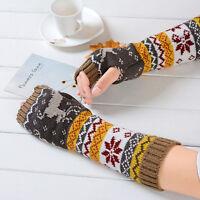 New Women Winter Wrist Arm Hand Warmer Knitted Long Fingerless Gloves Mittens
