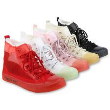 Damen Sneaker High Logo Print Turnschuhe Schnürer Freizeitschuhe 825765 Schuhe