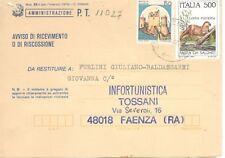 11027 - STORIA ITALIA 1985 -SALVARE FAUNA - AVVISO RICEV.IMENTO.- VEDI  FOTO